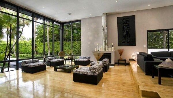 Không gian mở với sàn gỗ đẹp